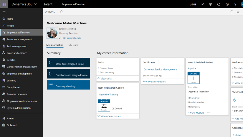 MB6-898 Describe features for employee self-service - Dynamics 365