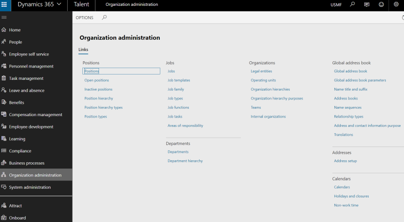Organization administration