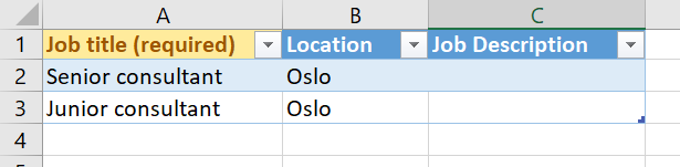 Add a job from excel template