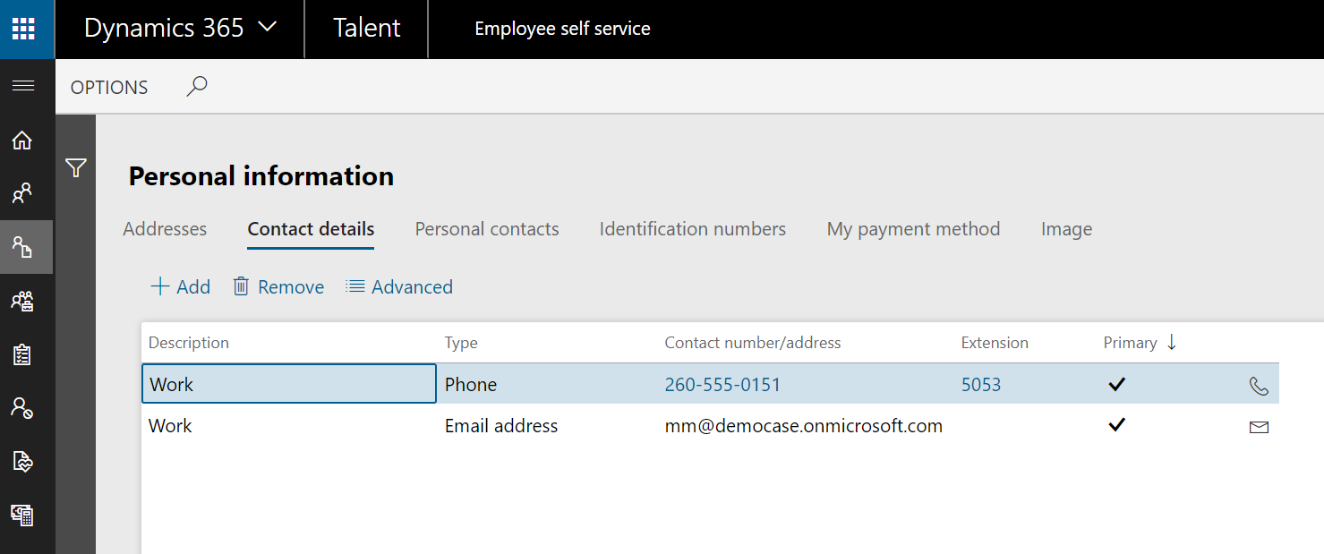 Personal information - Contact details