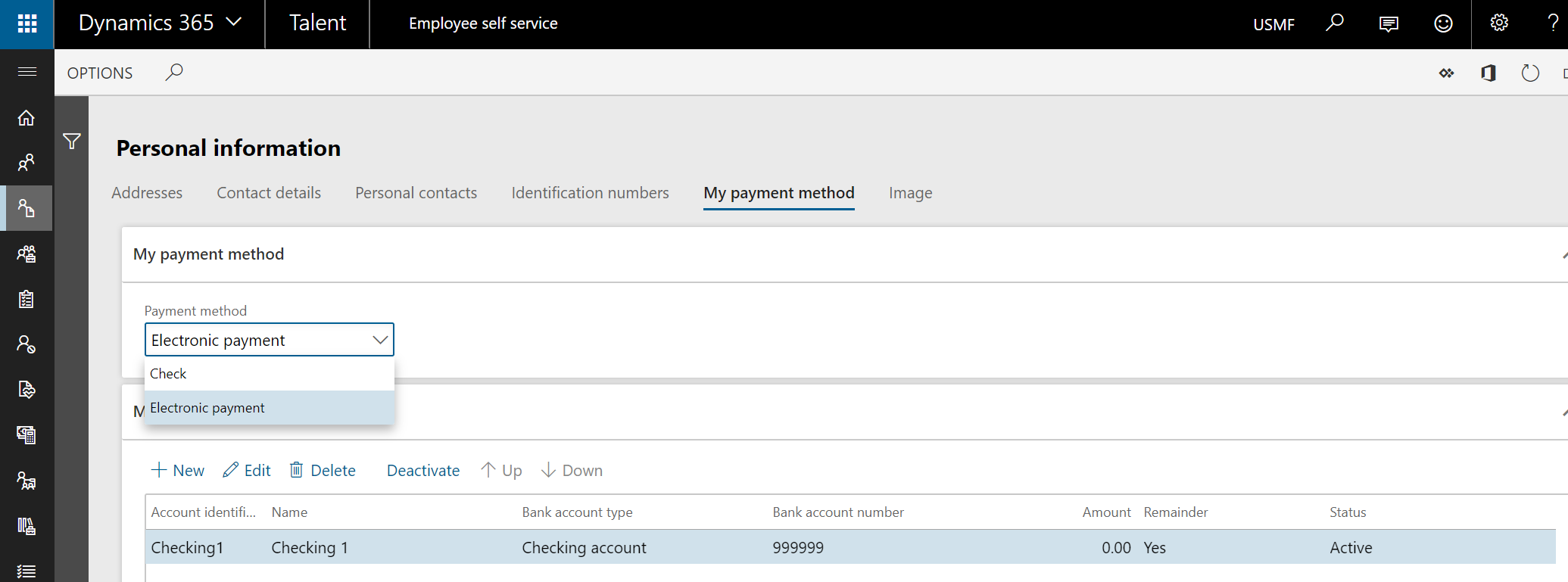 Personal information - My payment method