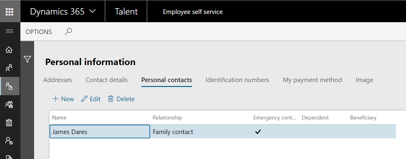Personal information - Personal contacts