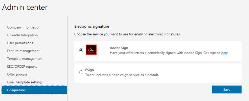 Admin center E-signature