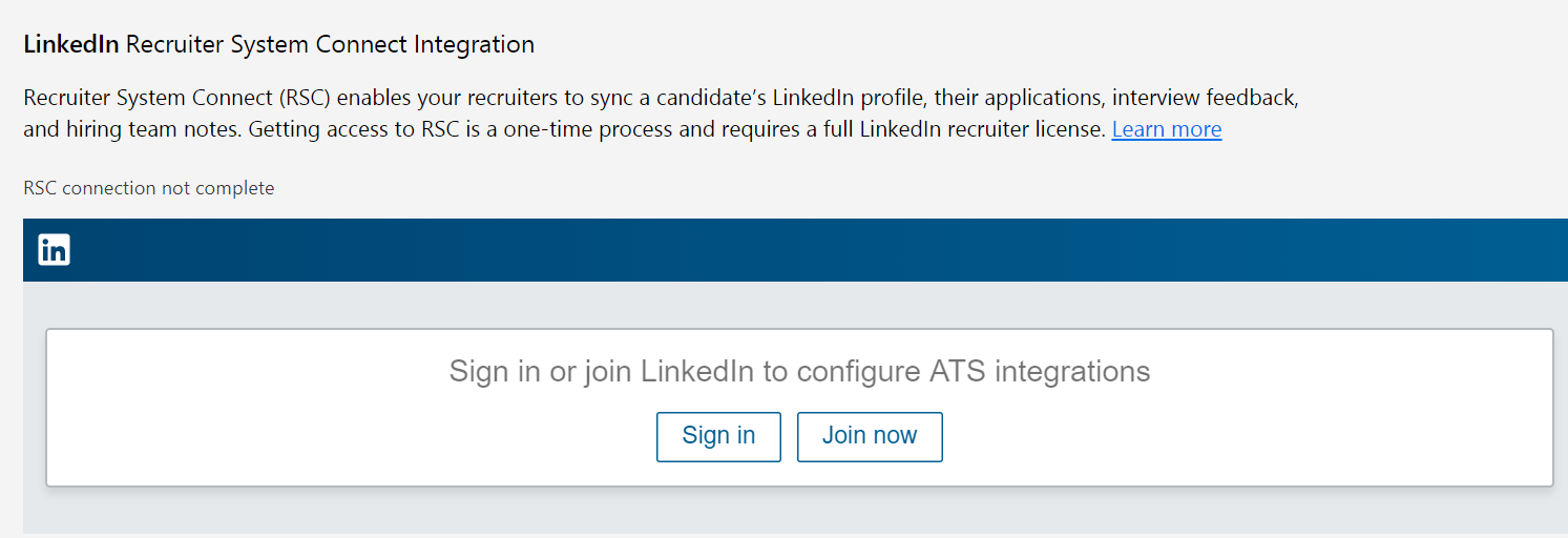 LinkedIn integration sign-in