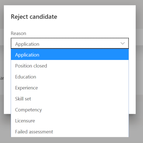 reject applicant reason