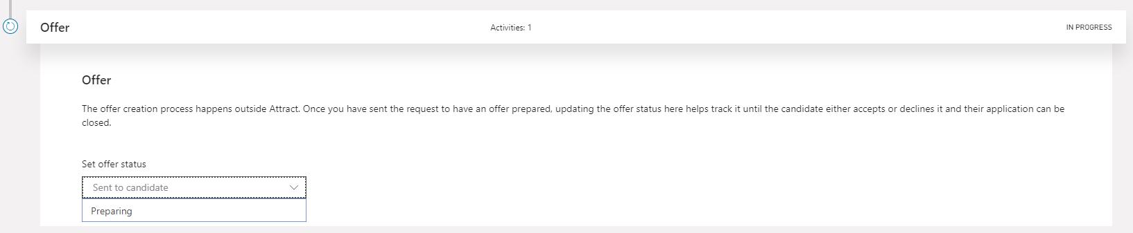 Offer settings preparing
