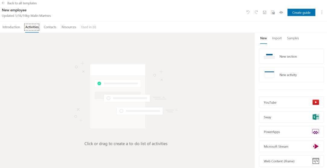 Empty activity tab