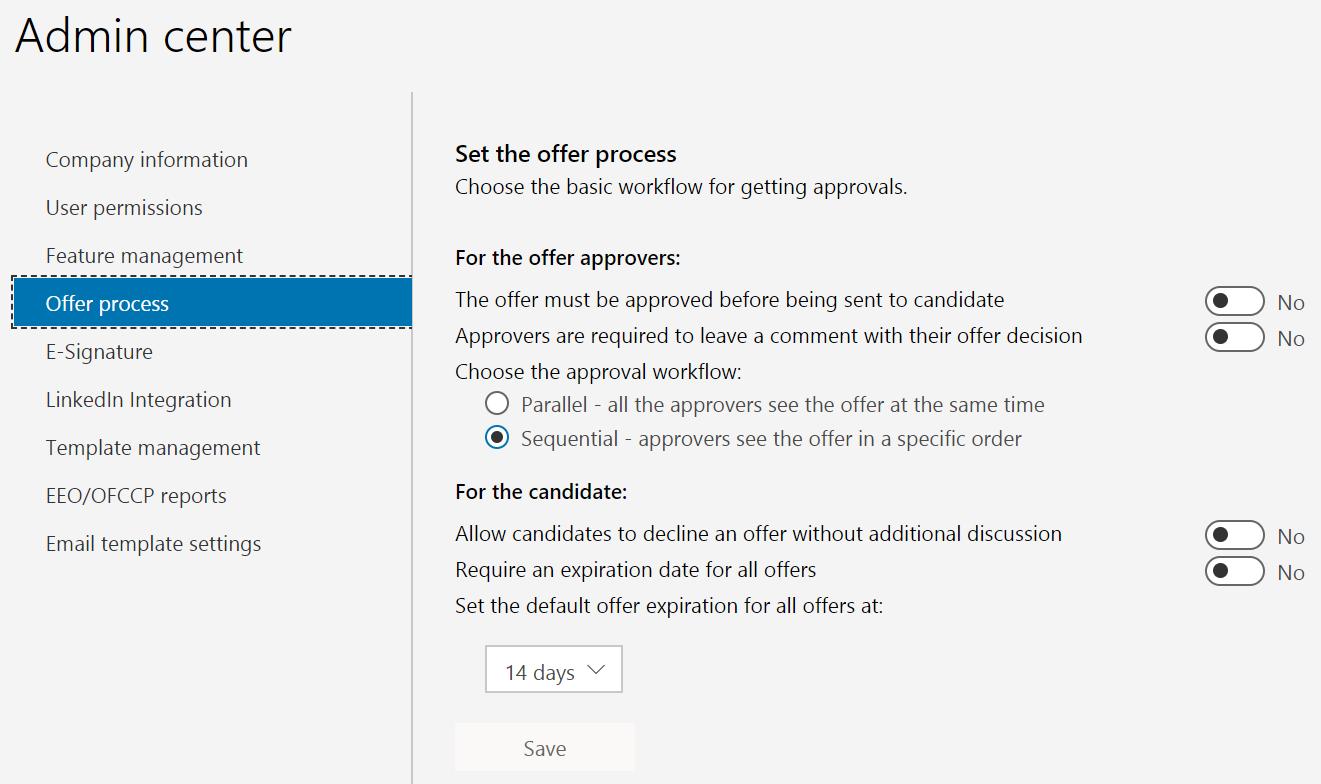 Offer settings in admin center