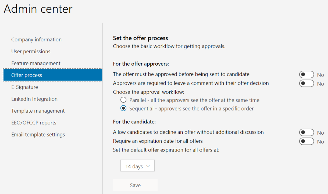 Offer settings in admin center