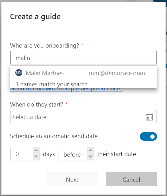 Create a guide - users in Office 365