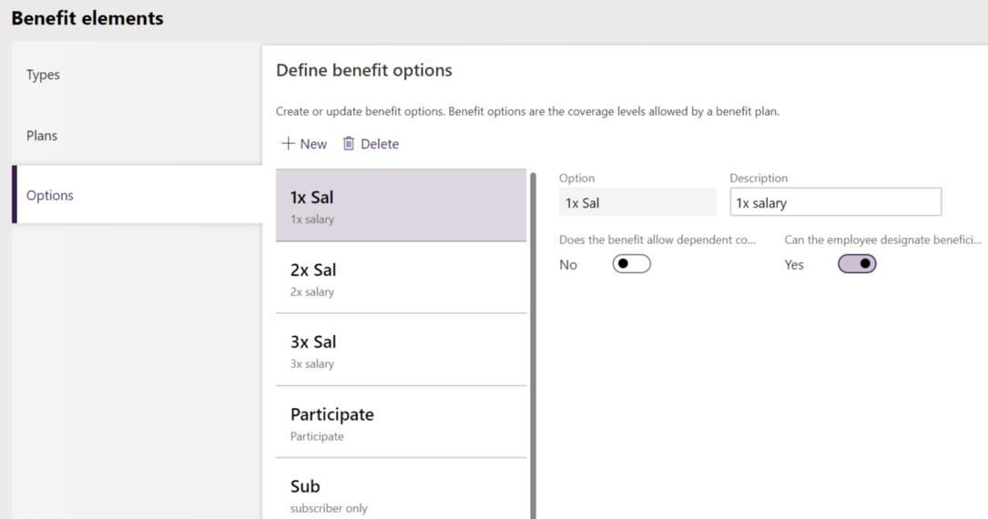 Benefit options setup