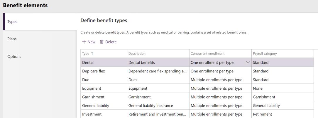 Benefit types setup
