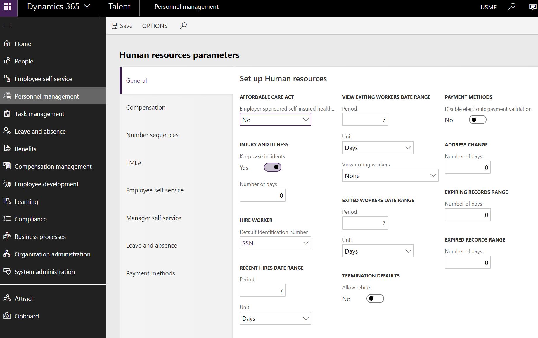 Human resources parameters
