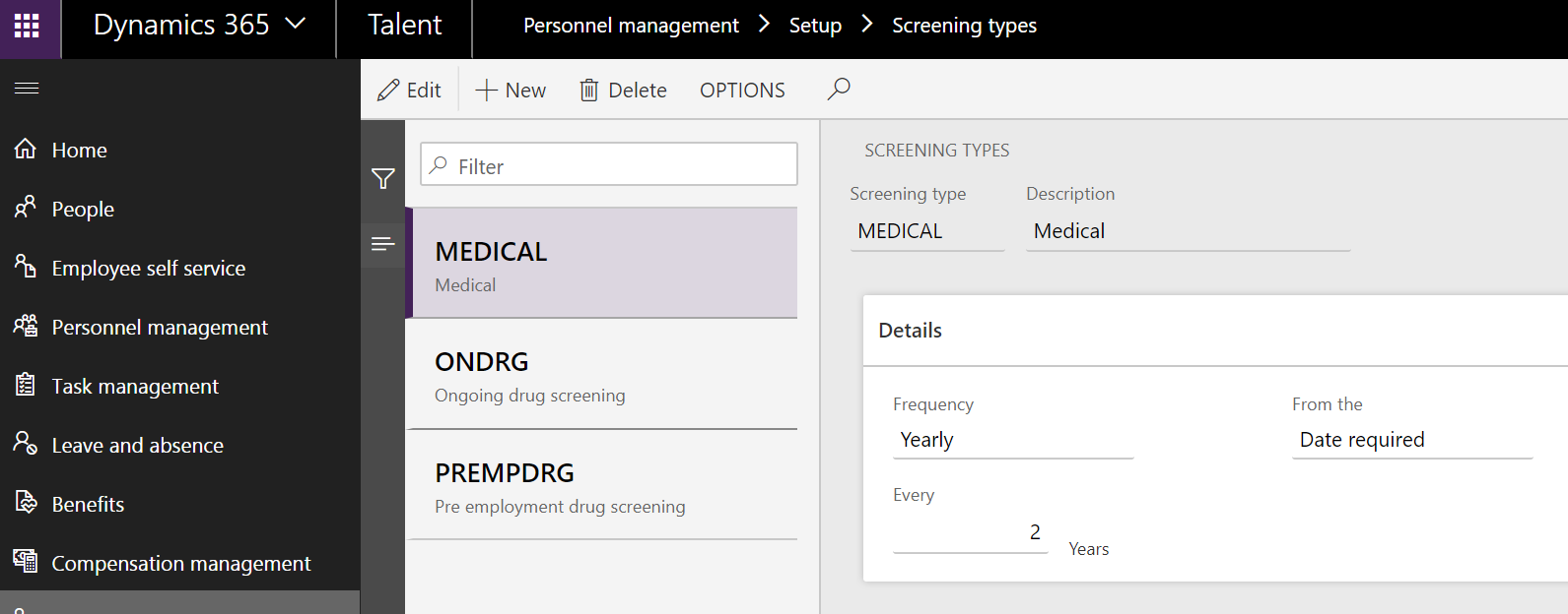 Screening types