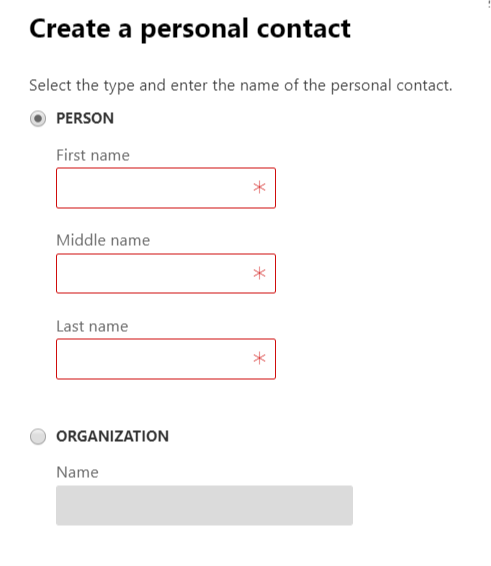 add new personal contact