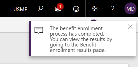 Benefit enrollment process completed