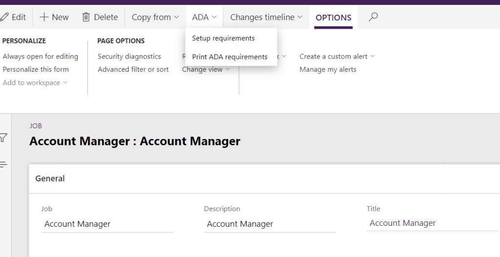 ADA requirements on a job