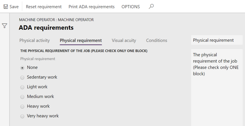 ADA - Physical requirement