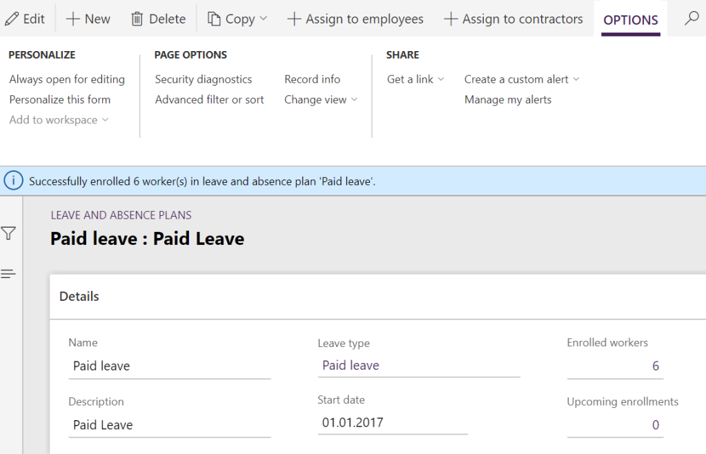 Leave and absence plan with 6 enrolled workers