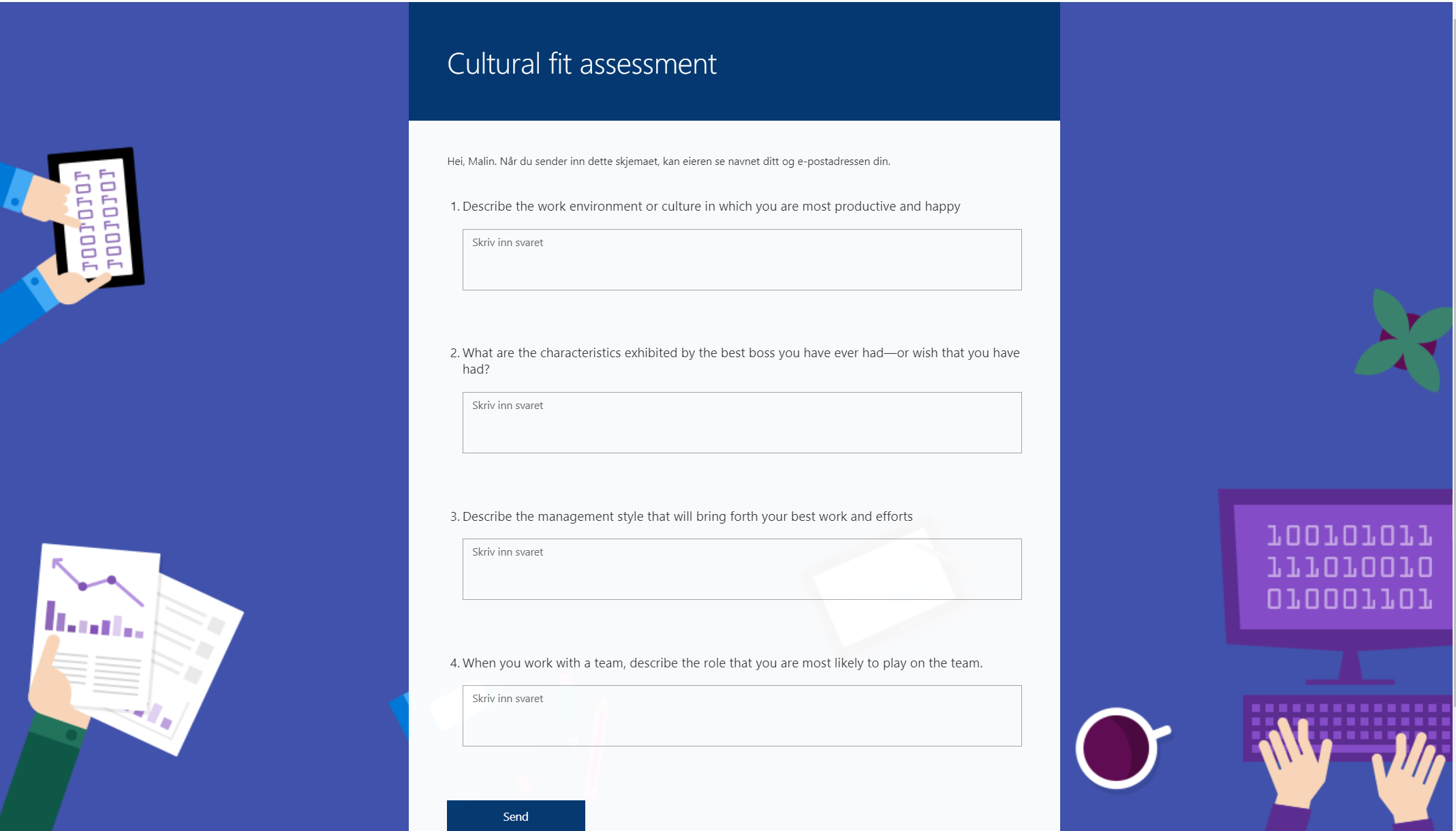 Cultural fit assessment with Microsoft Forms Pro
