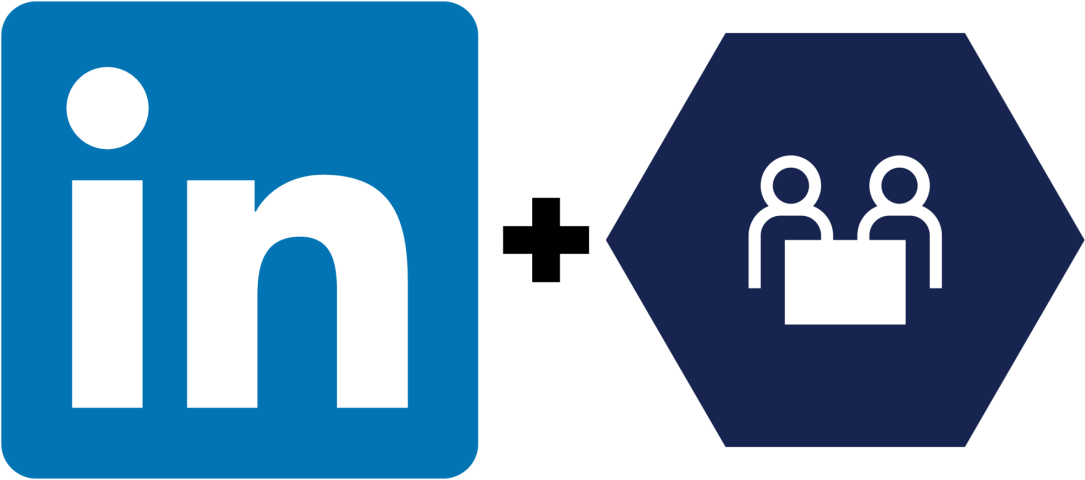 Logo LinkedIn + logo Dynamics 365 pour Talent
