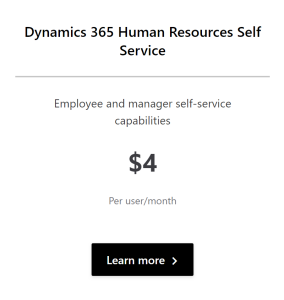 Dynamics 365 Human Resources self service licence