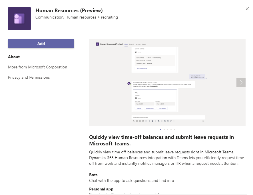 Add the Human Resources App in Teams