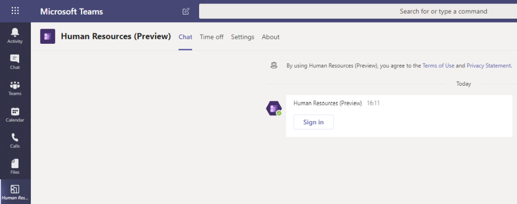 Sign in to the Human Resources App